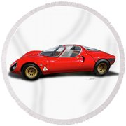 Alfa Romeo 33 Stradale 1967 Round Beach Towel by Alain Jamar