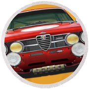 Alfa Romeo Gtam On Yellow Round Beach Towel