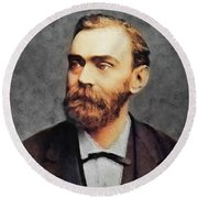Alfred Nobel, Famous Scientist Round Beach Towel