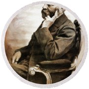 Alfred Nobel, Scientist By Mary Bassett Round Beach Towel