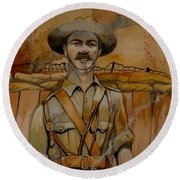 Round Beach Towel featuring the painting Alfred Shout Vc by Ray Agius