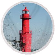 Algoma Lighthouse _ Splashed By A Wave Round Beach Towel