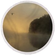 Algonquin Morning Round Beach Towel by CR Courson