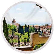 Alhambra Gardens, Digital Paint Round Beach Towel