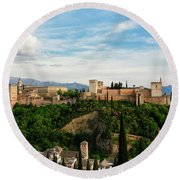 Alhambra In The Evening Round Beach Towel by Marion McCristall