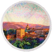 Round Beach Towel featuring the painting Alhambra, Grenada, Spain by Jane Small