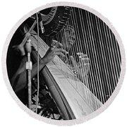 Alice Coltrane On Harp Round Beach Towel