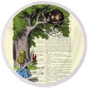 Alice In Wonderland And Cheshire Cat Round Beach Towel
