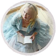 Alice In Wonderland Reads Her Story Round Beach Towel
