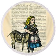 Alice In Wonderland With Fawn In Color Antique Illustration Round Beach Towel
