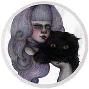 Alice With Black Cat Round Beach Towel