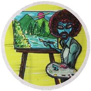 alien Bob Ross Round Beach Towel