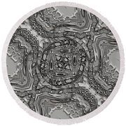 Alien Building Materials Round Beach Towel