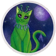 Round Beach Towel featuring the painting Alien Cat by Carrie Hawks
