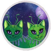 Alien Cats Round Beach Towel