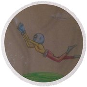 Alien Chasing His Dreams Round Beach Towel