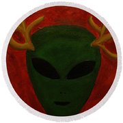 Alien Deer Round Beach Towel