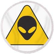 Alien Grey Graphic Round Beach Towel by Pixel Chimp