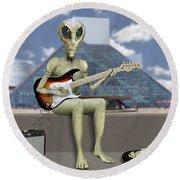 Alien Guitarist 2 Round Beach Towel