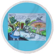 Round Beach Towel featuring the painting Alien In Wonderland by Similar Alien