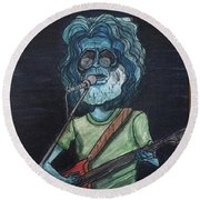 Round Beach Towel featuring the painting Alien Jerry Garcia by Similar Alien