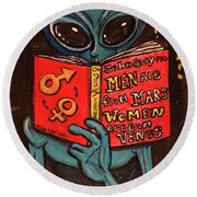 Alien Looking For Answers About Love Round Beach Towel