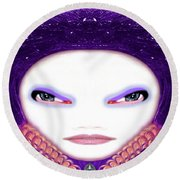 Round Beach Towel featuring the photograph Alien Mom #194 by Barbara Tristan