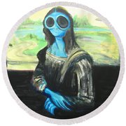 Round Beach Towel featuring the painting alien Mona Lisa by Similar Alien