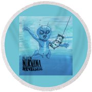 Round Beach Towel featuring the painting Alien Nevermind by Similar Alien