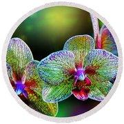 Alien Orchids Round Beach Towel