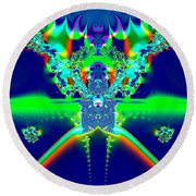 Round Beach Towel featuring the digital art Alien Poodle Fractal 96 by Rose Santuci-Sofranko