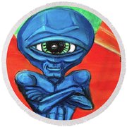 Round Beach Towel featuring the painting Alien Posse by Similar Alien