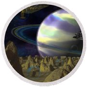 Alien Repose Round Beach Towel