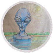 Round Beach Towel featuring the drawing Alien Submerged by Similar Alien