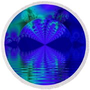 Alien Sunset Over Fantasy Lake Round Beach Towel