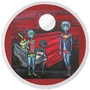 Round Beach Towel featuring the painting Alien Superheros by Similar Alien