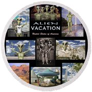 Alien Vacation - Poster Round Beach Towel by Mike McGlothlen