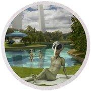 Alien Vacation - St. Louis Round Beach Towel by Mike McGlothlen