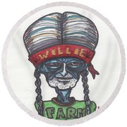 Round Beach Towel featuring the drawing alien Willie Nelson by Similar Alien