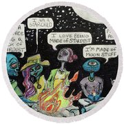 Aliens By The Campfire Round Beach Towel