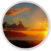 Alii Beach Sunset Round Beach Towel