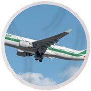 Alitalia Airbus A330-200 Departed From Milano Malpensa Round Beach Towel