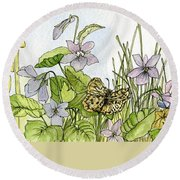 Round Beach Towel featuring the painting  Alive In A Spring Garden by Laurie Rohner