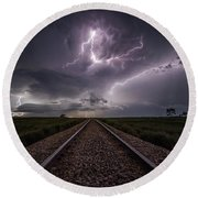 Round Beach Towel featuring the photograph All Aboard  by Aaron J Groen