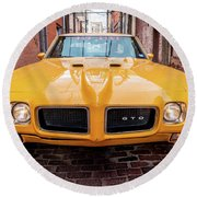 All American Muscle Round Beach Towel