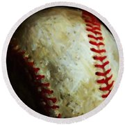 All American Pastime - Baseball - Square - Painterly Round Beach Towel