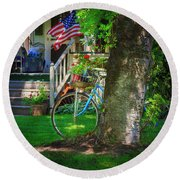 All American Summer Bicycle Round Beach Towel by Craig J Satterlee