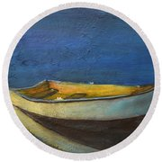 Round Beach Towel featuring the painting All By Myself by Gary Smith