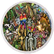 All Creatures Great Small Round Beach Towel