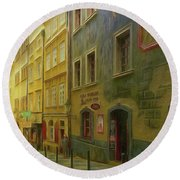 All Downhill From Here - Prague Street Scene Round Beach Towel